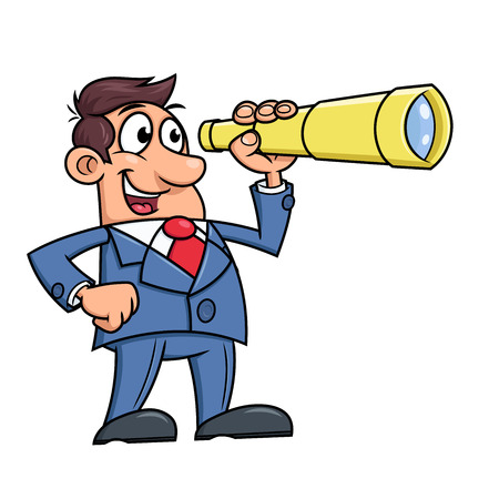 Illustration of the businessman looking through a telescope