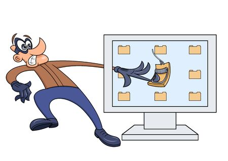 Illustration of the Computer thief has fallen into the trap Illustration
