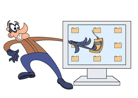 fallen: Illustration of the Computer thief has fallen into the trap Illustration