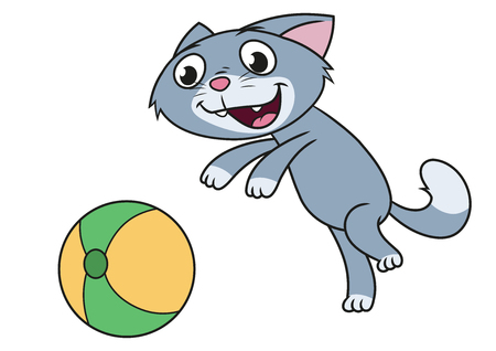 Illustration of the cute little kitten playing with ball