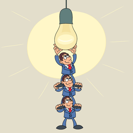 Illustration of the three businessmen screwing in a big light bulb