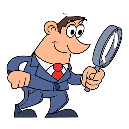 Illustration of the businessman looking through the loupe Illustration