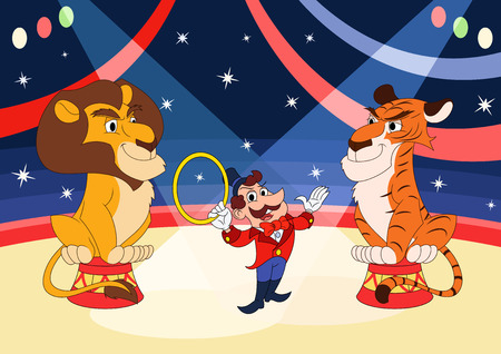 entertainer: Illustration of the handler with lion and tiger at circus