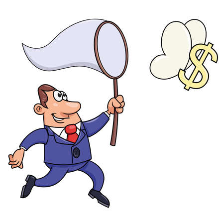 Illustration of the businessman trying to catch a dollar sign. Illustration