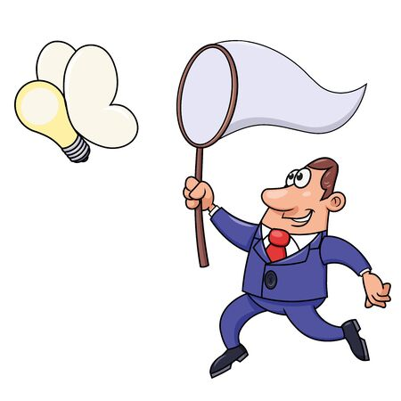 Illustration of the businessman trying to catch a light bulb idea. Illustration