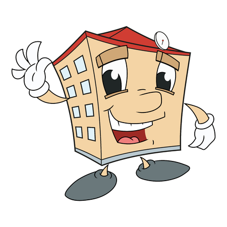 Illustration of acute smiling house waving hand.