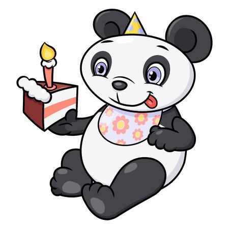 Illustration of the cute little panda eating birthday cake.