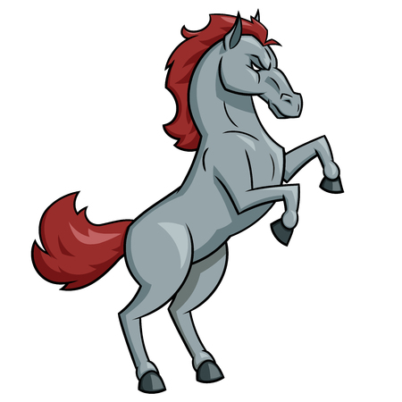 Illustratie van de sterke paardmascotte op witte achtergrond