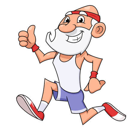 Illustration of the smiling old man jogging and making thumb up gesture Illustration