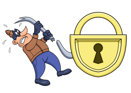 Illustration of the thief has broken his crowbar