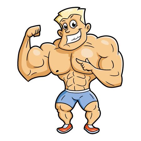 Illustration of the huge smiling bodybuilder posing. White background