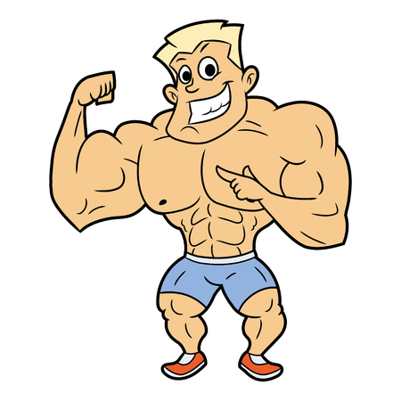 Illustration of the huge smiling bodybuilder posing. White background. Illustration