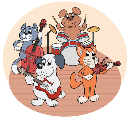 Illustration of the quartet of animals playing music on a stage Stock Photo