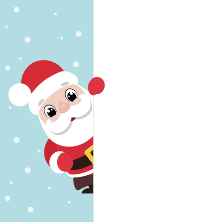 Vector illustration of a cute smiling Santa Claus holding a blank signboard Ilustrace