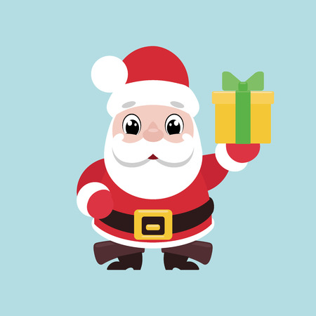 Illustration of a cute smiling Santa Claus giving a present Ilustração