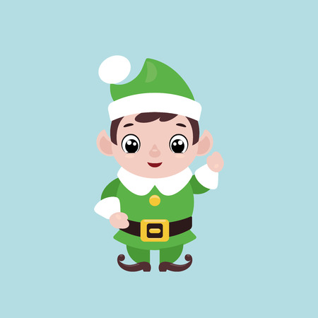 Vector illustration of a cute smiling Christmas elf waving hand