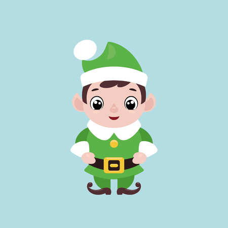 Vector illustration of a cute smiling Christmas elf