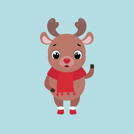 Vector Christmas illustration of a cute smiling deer waving hand