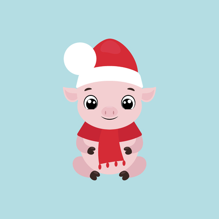 Vector illustration of a cute smiling little pig in a Christmas hat