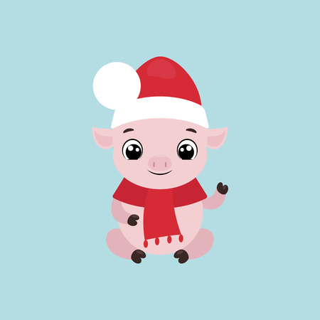Vector illustration of a cute smiling little pig in a Christmas hat waving hand