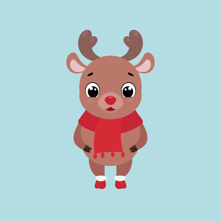 Vector Christmas illustration of a cute smiling deer