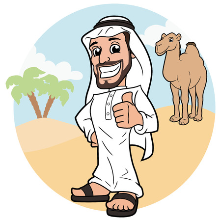 Illustration of Arabic man standing in a desert and showing thumbs up sign