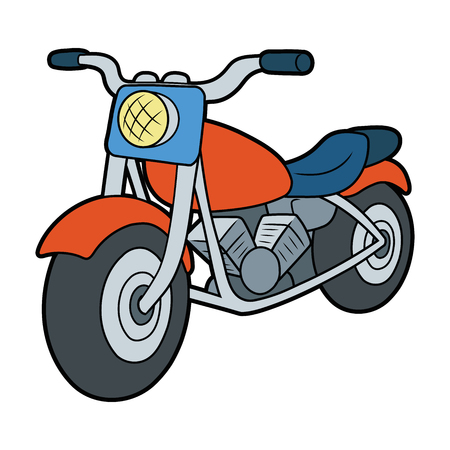 Cartoon illustration of a motorcycle on white background