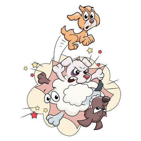 Illustrazione del fumetto di cani da combattimento isolati su sfondo bianco