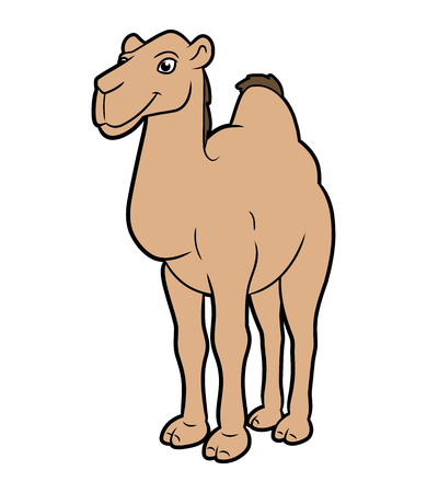 Cartoon illustration of a camel isolated on white background