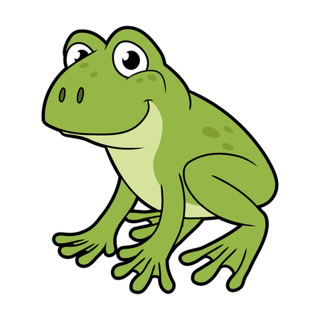 Cartoon illustration of a green frog on white background