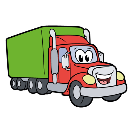 Illustration of a cute smiling truck isolated on a white background Ilustração