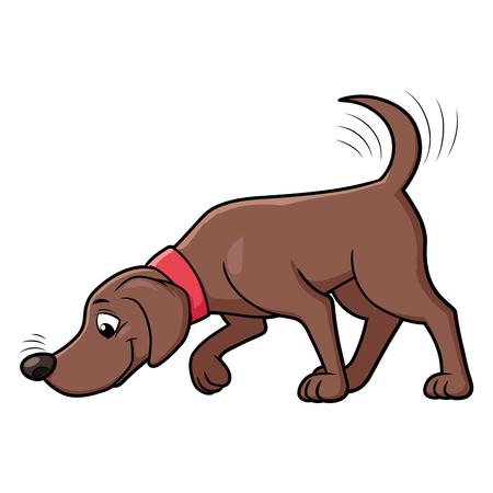 Illustration eines süßen Hundes, der den Boden schnüffelt Vektorgrafik