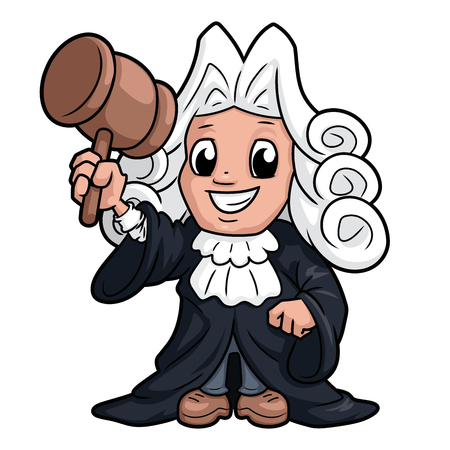 Illustration of a funny judge character on a white background