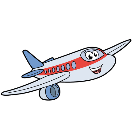 Illustration of a cute smiling airplane isolated on a white background