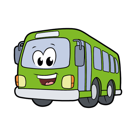 Illustration of a cute smiling bus isolated on a white background Ilustração