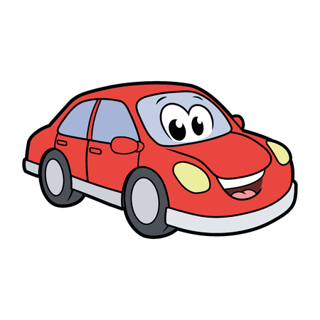 Illustration of a cute smiling car isolated on a white background Ilustração