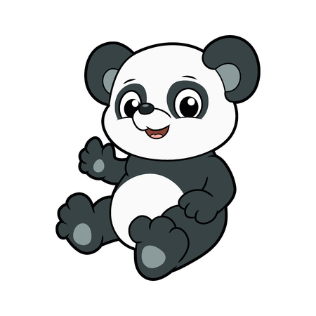 Illustration of a cute little panda waving paw Ilustração