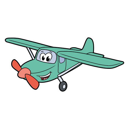 Illustration of a cute smiling plane isolated on a white background