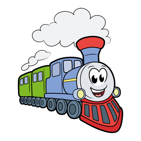 Ilustracja ślicznego uśmiechniętego pociągu na białym tle