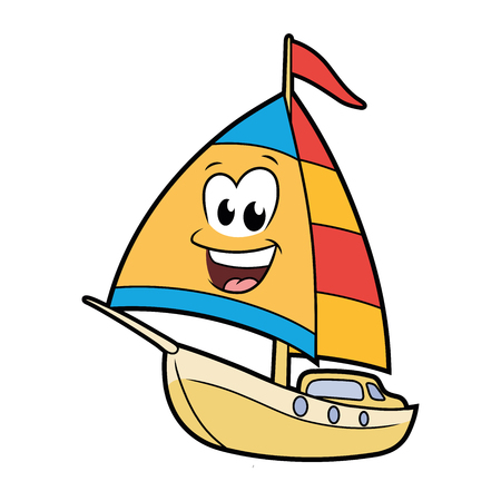 Illustration of a cute smiling sailboat isolated on a white background