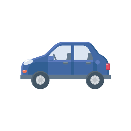 Illustration of a blue car on a white background