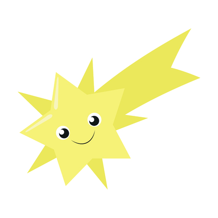 Illustration of a cute falling star on a white background Çizim