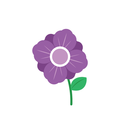 Illustration of a purple flower on a white background Çizim