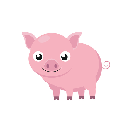 Illustration of a cute pig on a white background Çizim