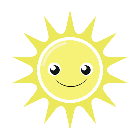 Illustration of a cute smiling sun on a white background