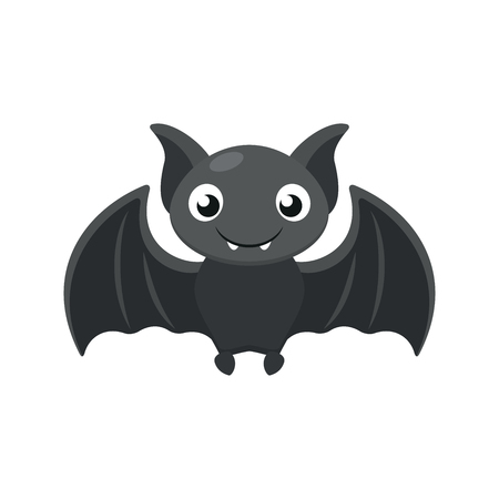 Illustration of a cute bat on a white background Çizim