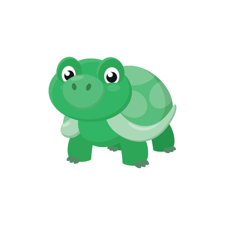 Illustration of a cute turtle on a white background Çizim
