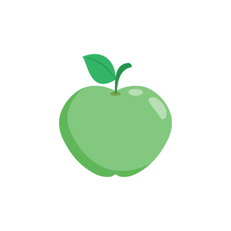 Illustration of a green apple on a white background