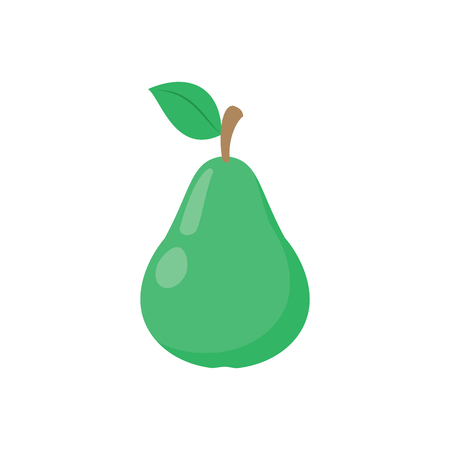 Illustration of a green pear on a white background