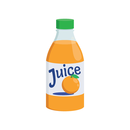 Illustration of an orange juice bottle on a white background Çizim
